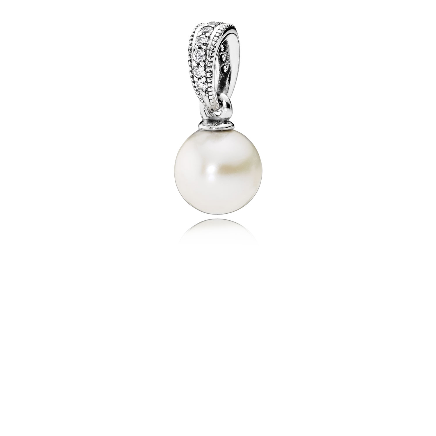 Elegant Beauty Pendant, White Pearl & Clear CZ