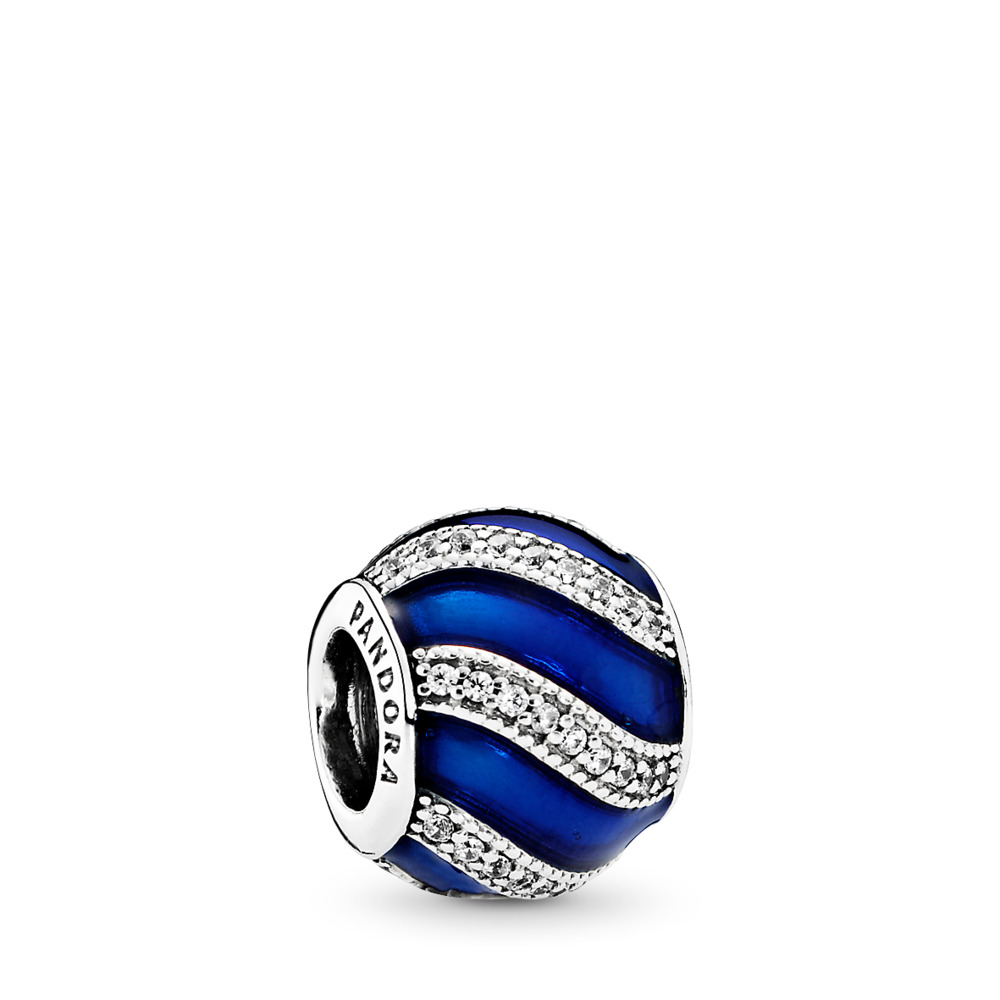 Adornment Charm, Transparent Royal-Blue Enamel &  Clear CZ, Sterling silver, Enamel, Blue, Cubic Zirconia - PANDORA - #791991EN118
