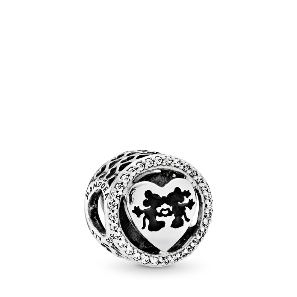 Disney, Mickey & Minnie Love, Charm Clear CZ, Sterling silver, Enamel, Black, Cubic Zirconia - PANDORA - #791957CZ