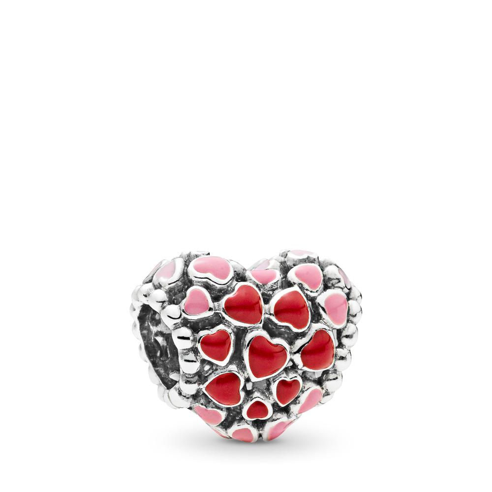 Burst of Love Charm, Mixed Enamel, Sterling silver, Enamel, Pink - PANDORA - #796557ENMX