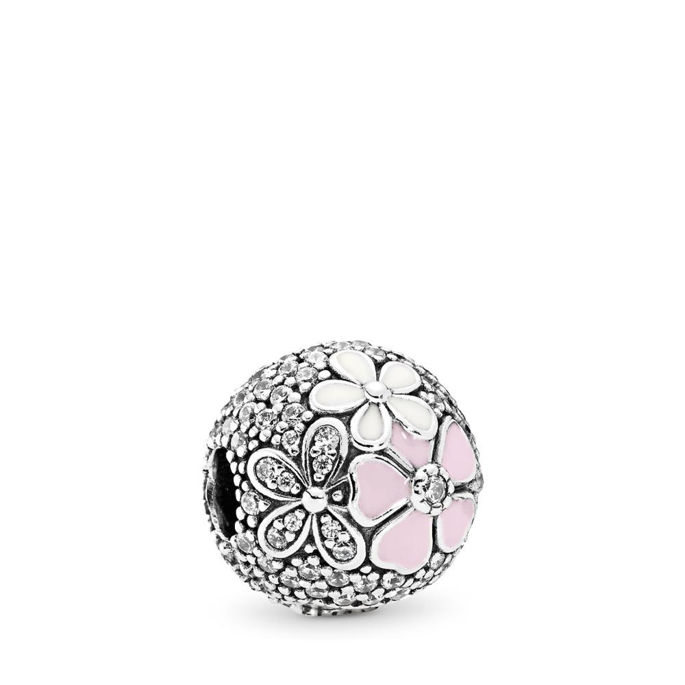 Poetic Blooms, Mixed Enamels & Clear CZ, Sterling silver, Enamel, Pink, Cubic Zirconia - PANDORA - #792084CZ
