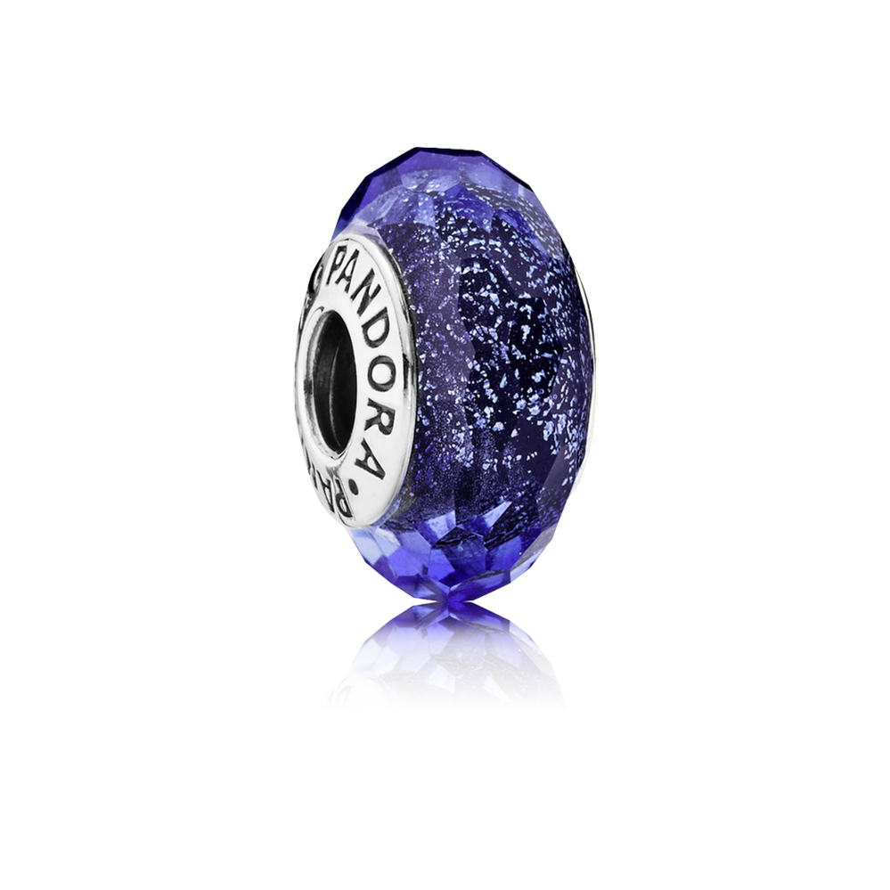 Blue Fascinating Iridescence Charm, Murano Glass