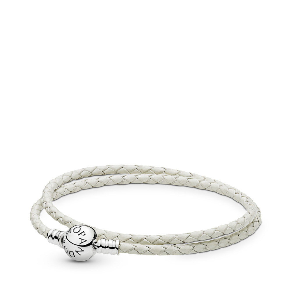 Ivory White Braided Double-Leather Charm Bracelet, Sterling silver, Leather, White - PANDORA - #590745CIW-D