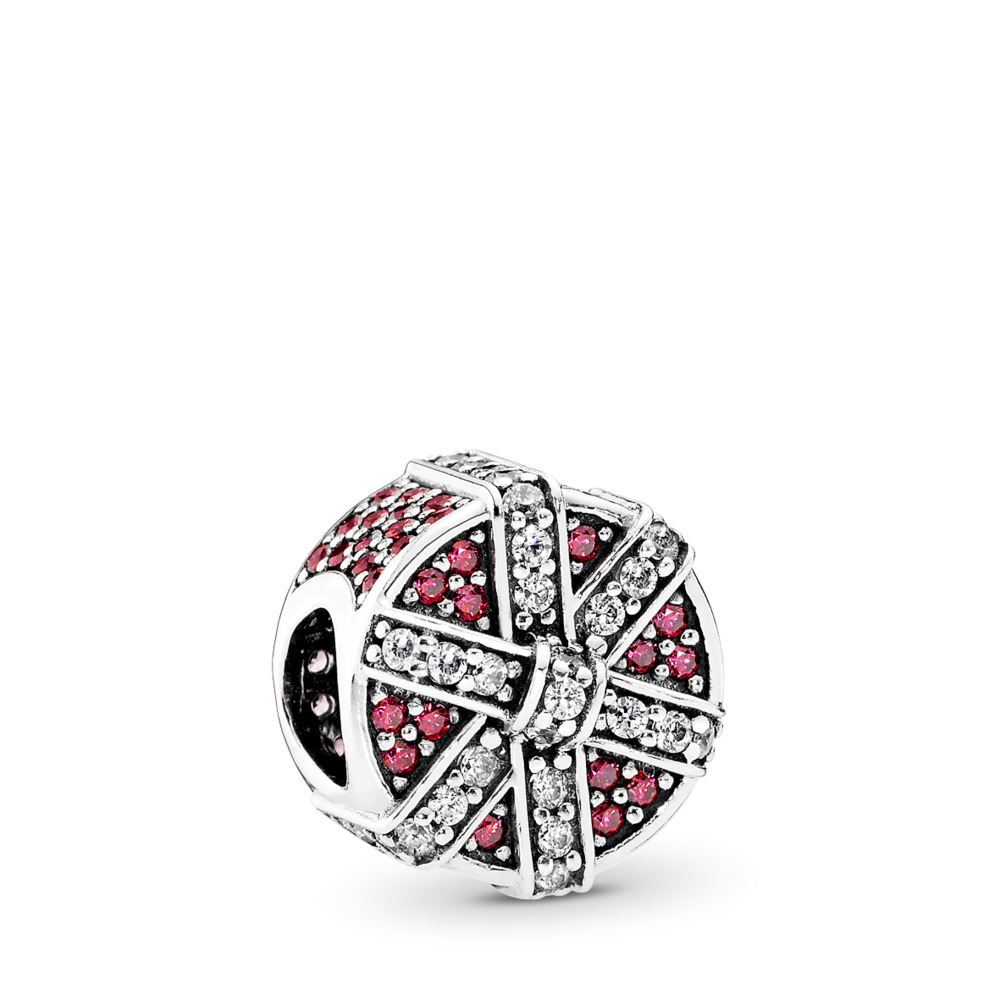 Shimmering Gift Charm, Red & Clear CZ, Sterling silver, Red, Cubic Zirconia - PANDORA - #792006CZR