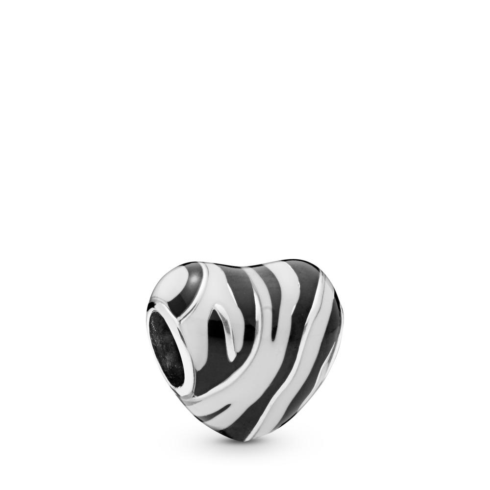 Wild Stripes Charm, Sterling silver, Enamel, Black - PANDORA - #798056ENMX