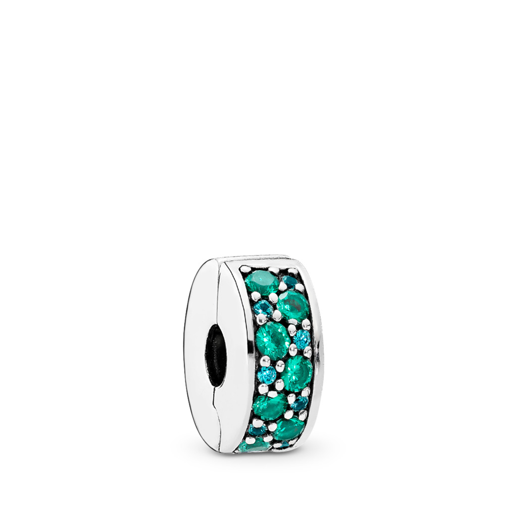 Mosaic Shining Elegance Clip, Multi-Colored Crystals & Teal CZ, Sterling silver, Silicone, Blue, Mixed stones - PANDORA - #791817MCZMX