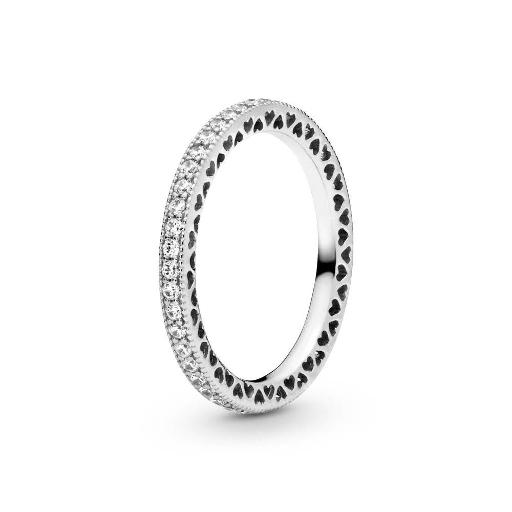 Hearts of PANDORA Ring, Clear CZ, Sterling silver, Cubic Zirconia - PANDORA - #190963CZ