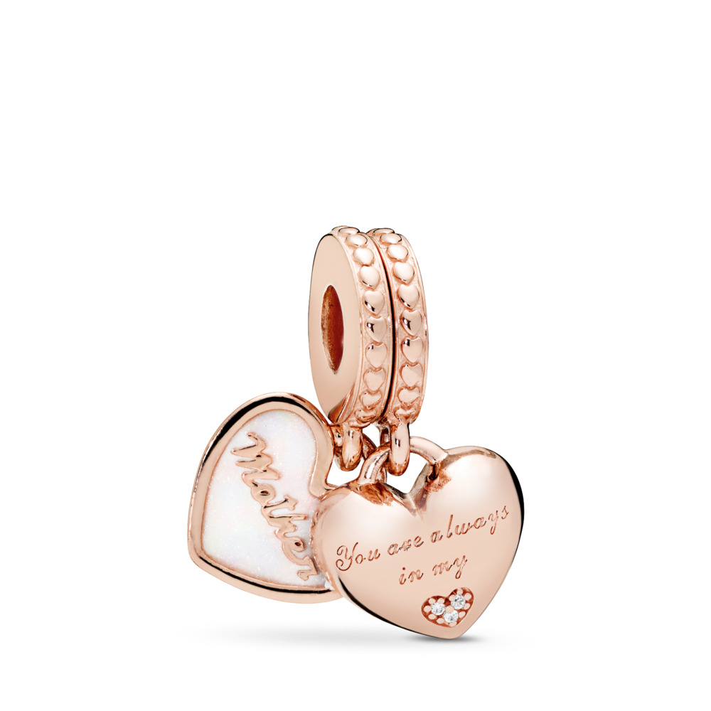 Mother & Daughter Hearts Dangle Charm, PANDORA Rose™, Silver Enamel & Clear CZ, PANDORA Rose, Enamel, Silver, Cubic Zirconia - PANDORA - #782072EN23
