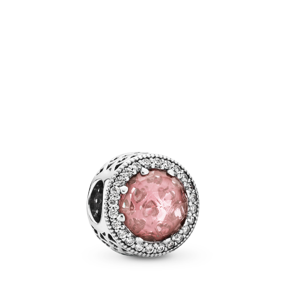 Radiant Hearts Charm, Blush Pink Crystal & Clear CZ, Sterling silver, Pink, Mixed stones - PANDORA - #791725NBP