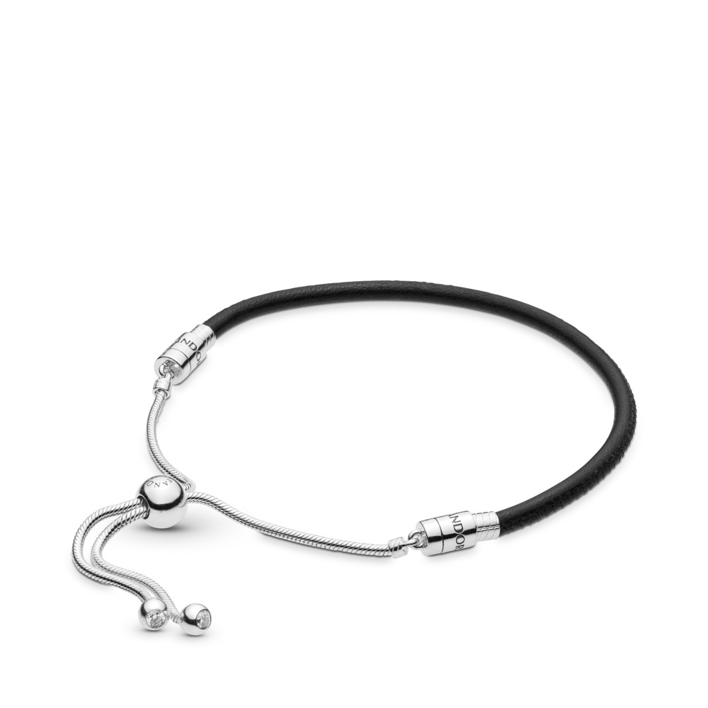 380f09b64 Sliding Black Leather Bracelet, Clear CZ, Sterling silver, Leather, Black,  Cubic