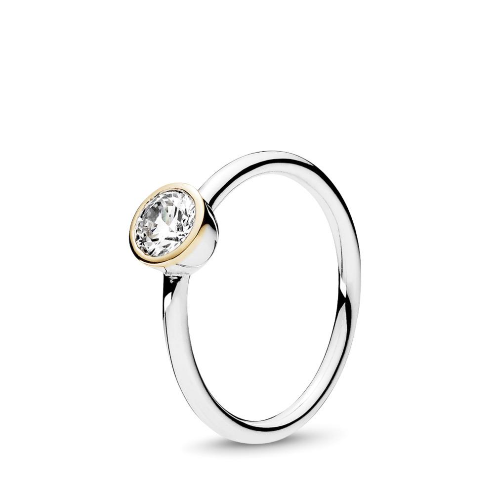 Petite Circle Ring, Clear CZ, Two Tone, Cubic Zirconia - PANDORA - #191043CZ