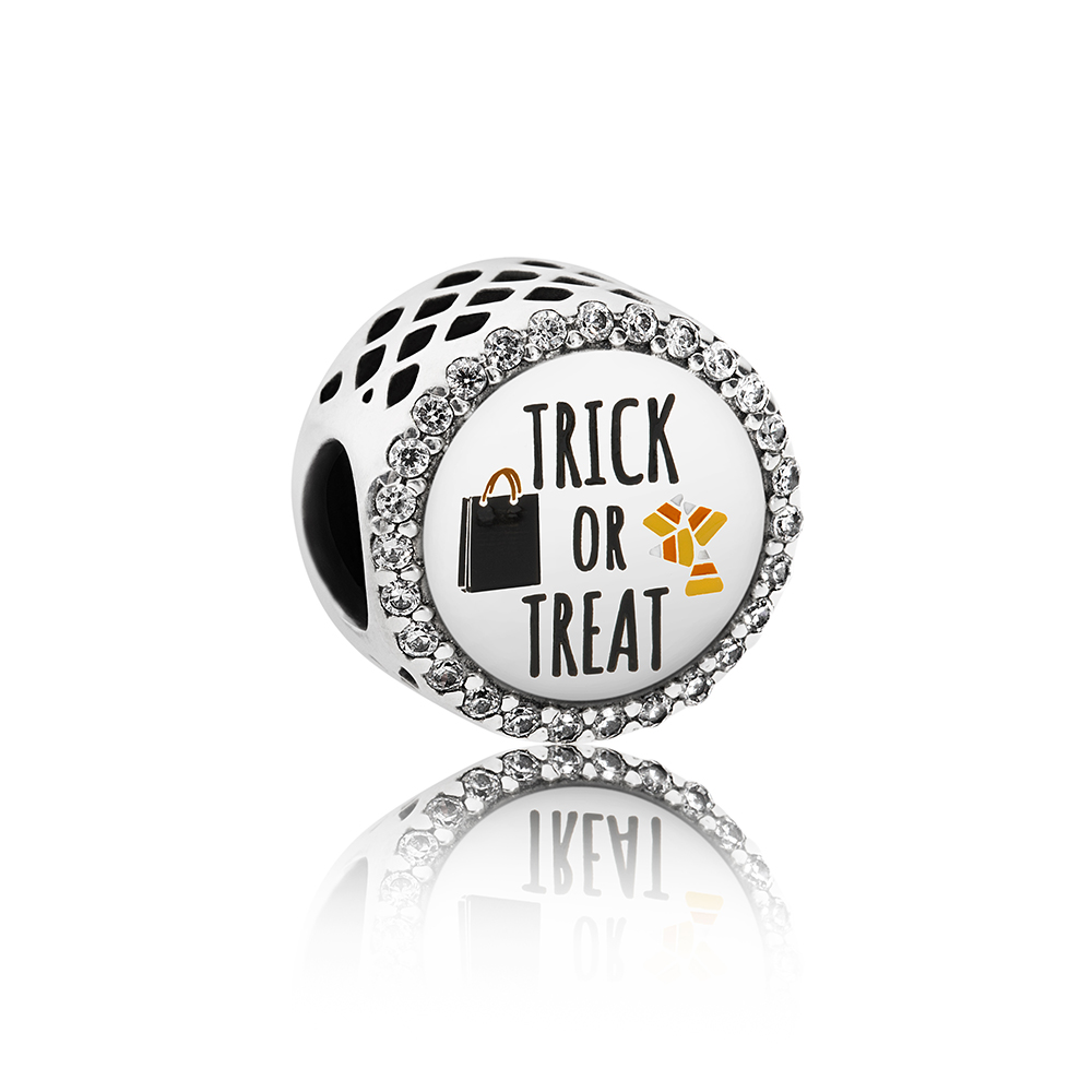 Trick or Treat Charm, Mixed Enamel & Clear CZ