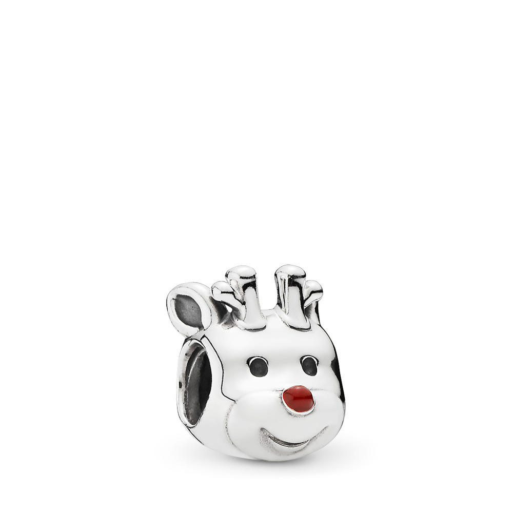 Red-Nosed Reindeer Charm, Red Enamel, Sterling silver, Enamel, Red - PANDORA - #791781EN39