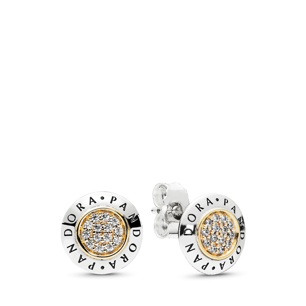 PANDORA Signature Stud Earrings, Clear CZ, Two Tone, Cubic Zirconia - PANDORA - #296230CZ