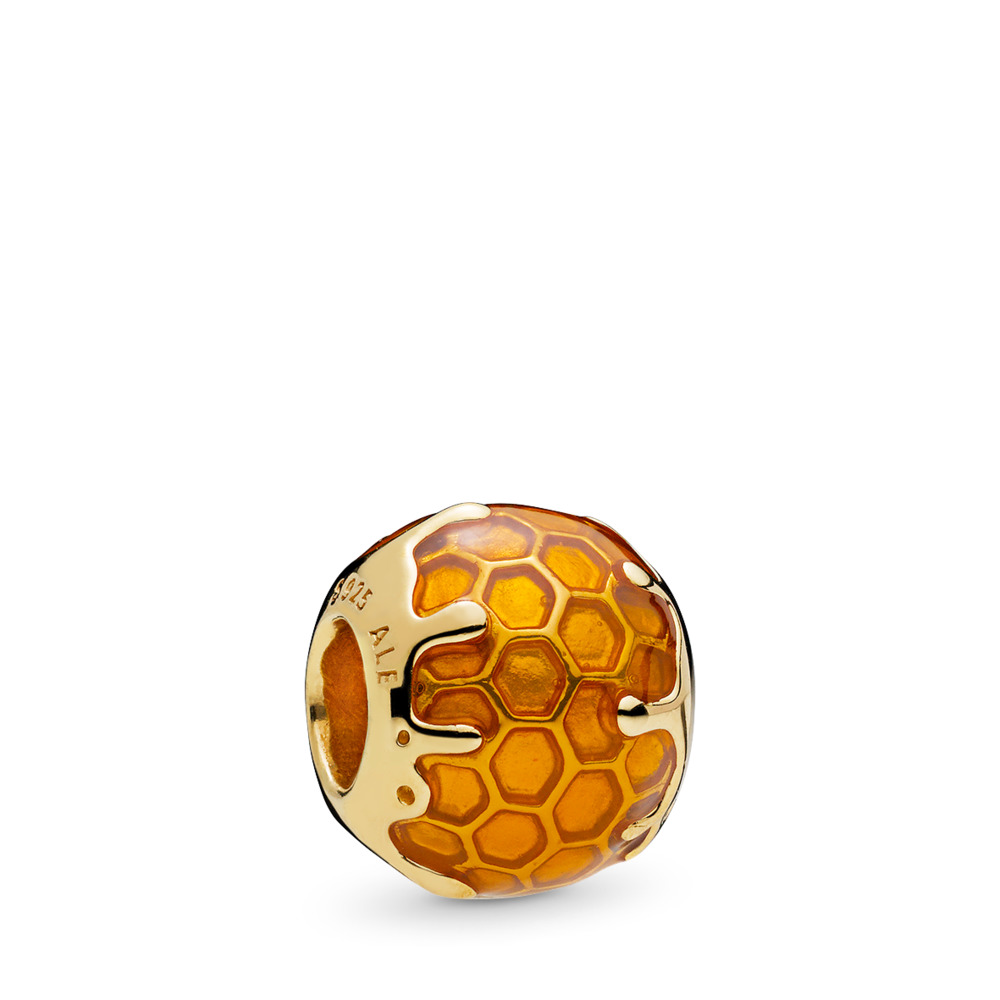Golden Honey Charm, PANDORA Shine™ & Warm Yellow Enamel, 18ct Gold Plated, Enamel, Yellow - PANDORA - #767120EN158