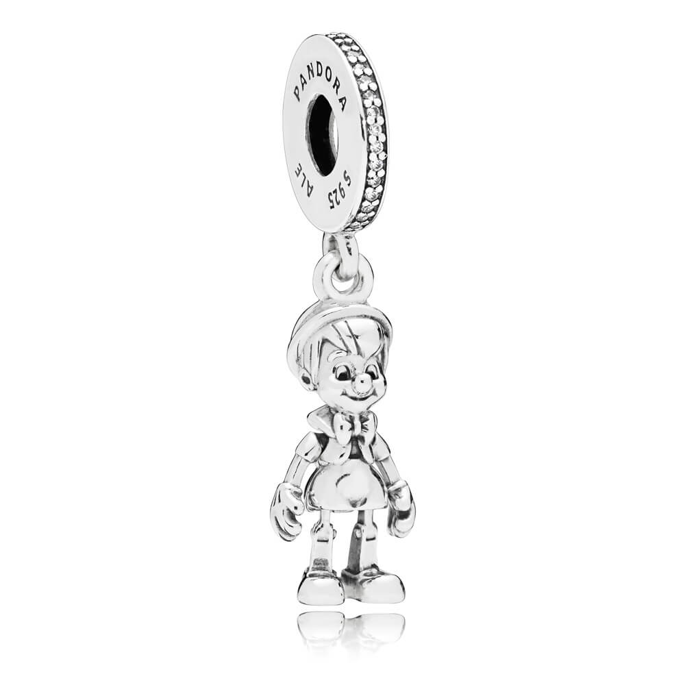 Disney, Pinocchio Dangle Charm, Clear CZ