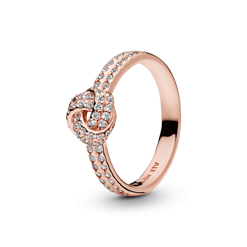 Sparkling Love Knot Ring, PANDORA Rose™ & Clear CZ, PANDORA Rose, Cubic Zirconia - PANDORA - #180997CZ