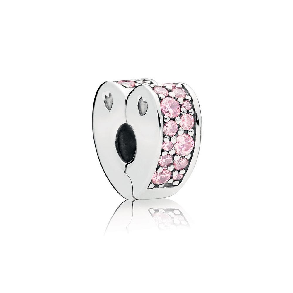 Pink Arcs of Love Clip, Pink CZ