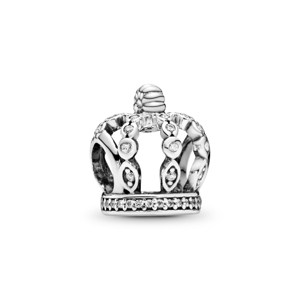 Fairytale Crown Charm, Clear CZ, Sterling silver, Cubic Zirconia - PANDORA - #792058CZ