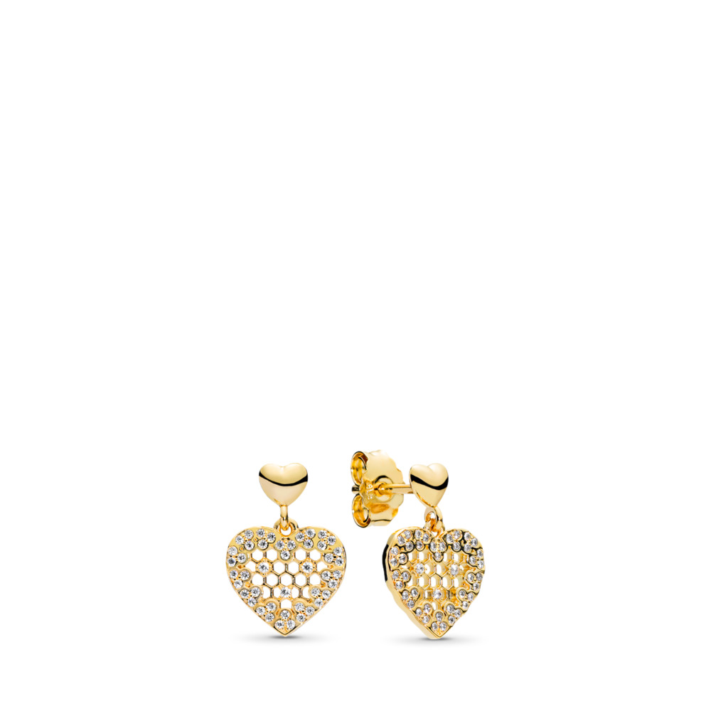 Honeycomb Lace Dangle Earrings, PANDORA Shine™ & Clear CZ, 18ct Gold Plated, Cubic Zirconia - PANDORA - #267068CZ
