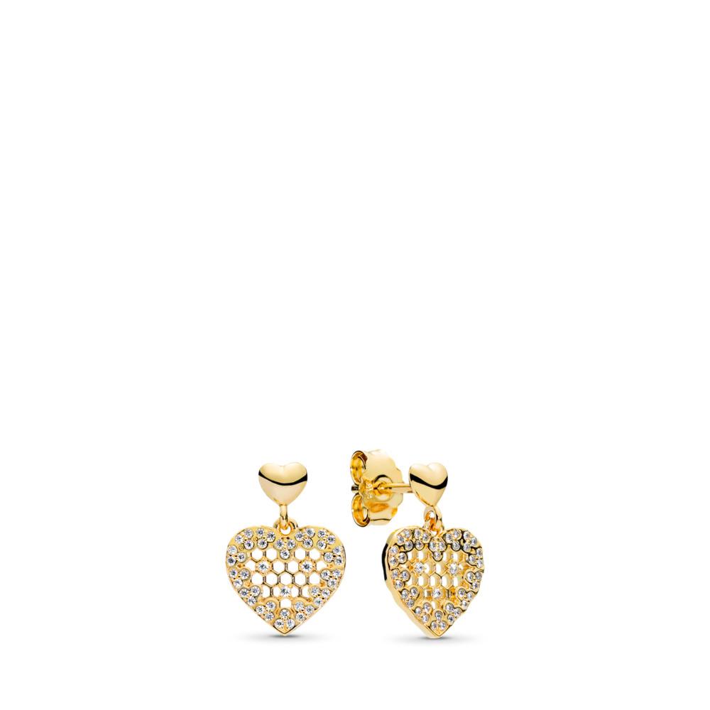 Honeycomb Lace Dangle Earrings, PANDORA Shine™ & Clear CZ, 18ct Gold Plated, Cubic Zirconia - PANDORA - #267068CZ