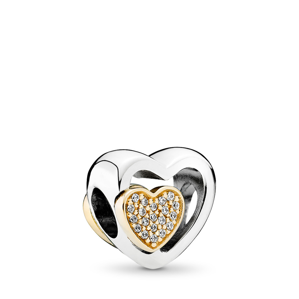 Joined Together Charm, Clear CZ, Two Tone, Cubic Zirconia - PANDORA - #791806CZ