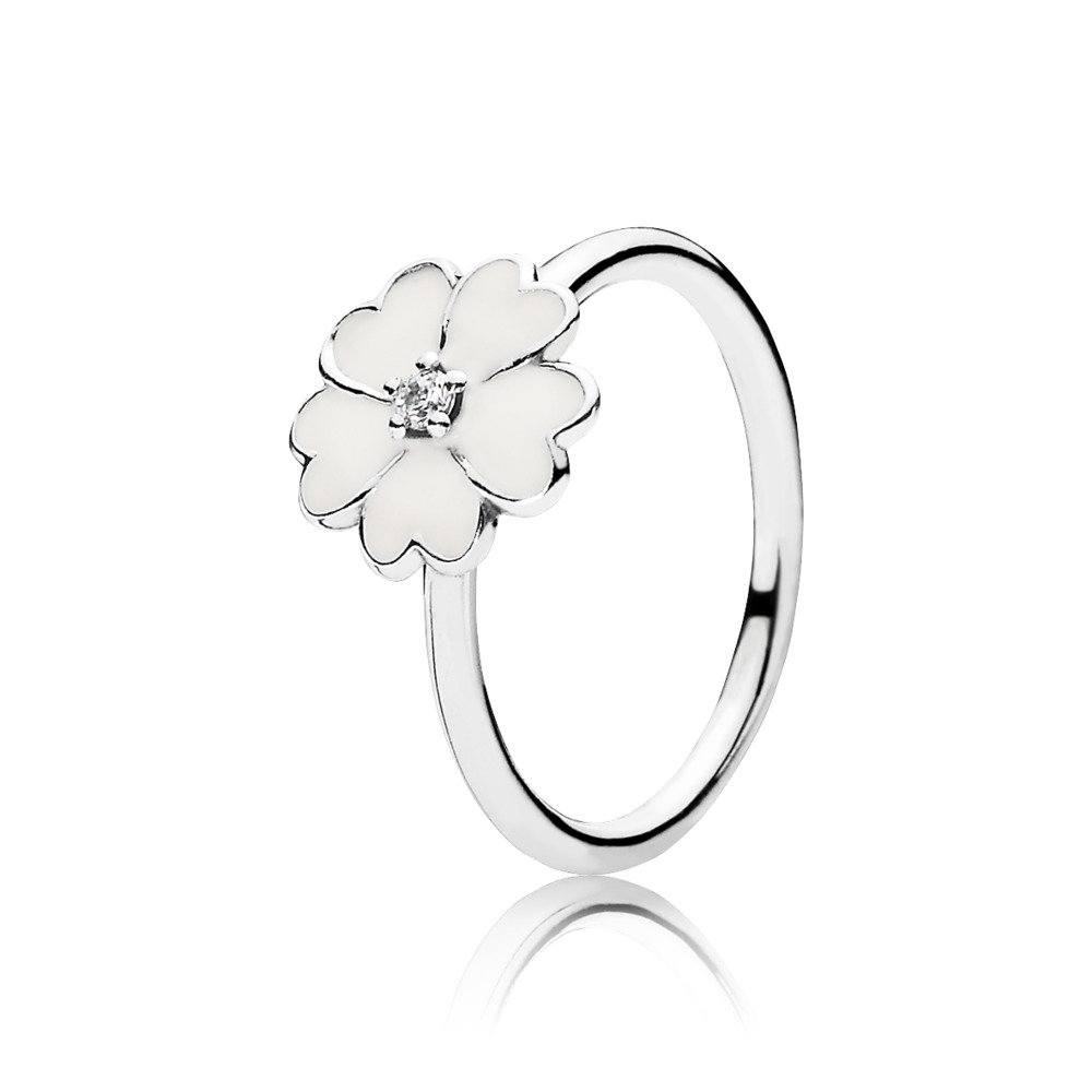 Primrose Stackable Ring, White Enamel, Sterling silver, Enamel, White, Cubic Zirconia - PANDORA - #190931EN12