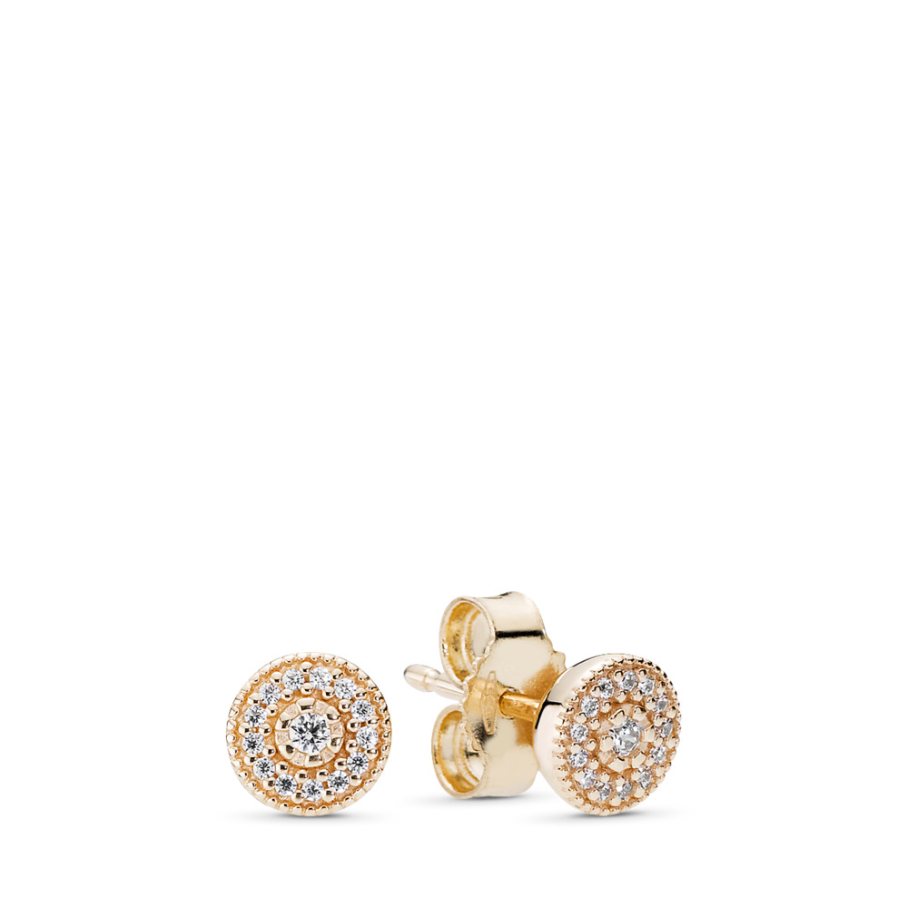 Radiant Elegance Stud Earrings, 14K Gold & Clear CZ, Yellow Gold 14 k, Cubic Zirconia - PANDORA - #250325CZ