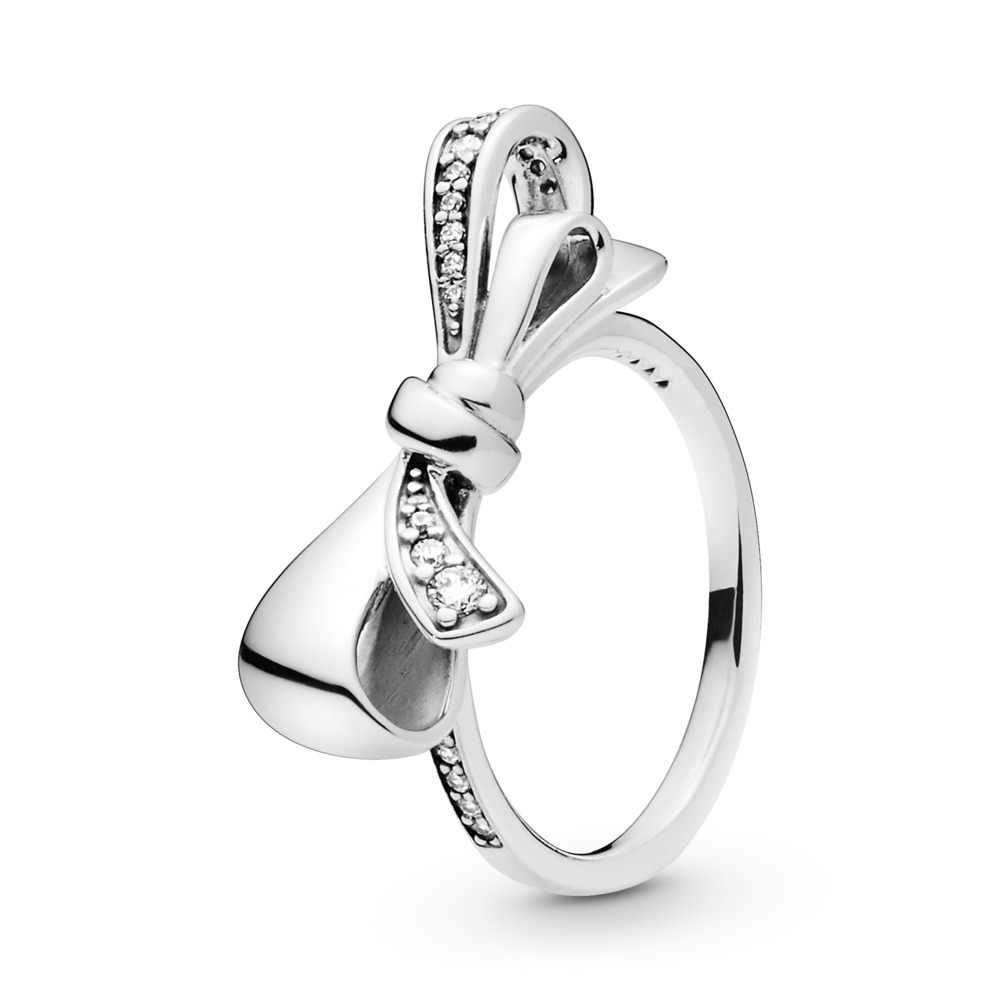 Brilliant Bow Ring, Clear CZ, Sterling silver, Cubic Zirconia - PANDORA - #197232CZ