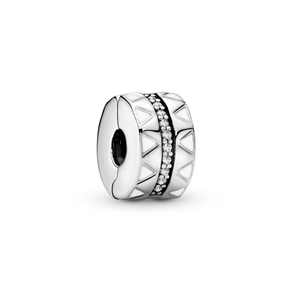 Sparkling Jagged Lines Clip, Sterling silver, Enamel, White, Cubic Zirconia - PANDORA - #798067CZ