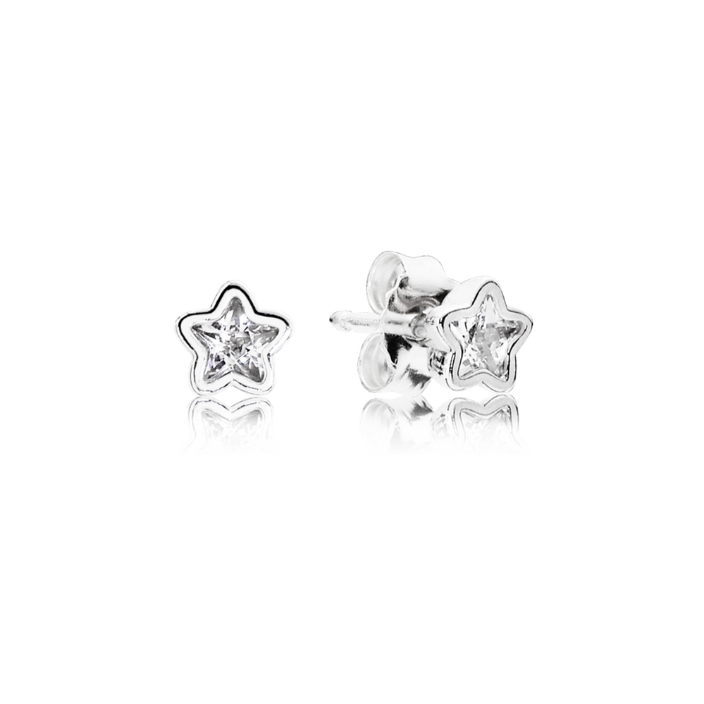 Starshine Stud Earrings, Clear CZ