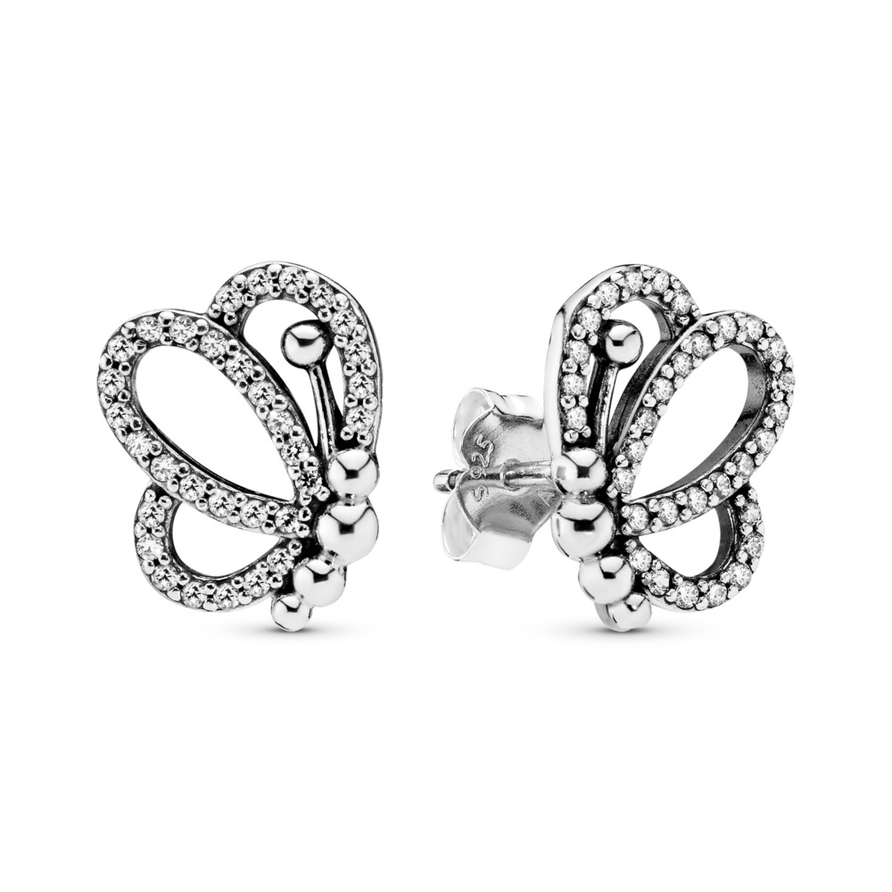 Butterfly Outlines Earrings, Sterling silver, Cubic Zirconia - PANDORA - #297912CZ