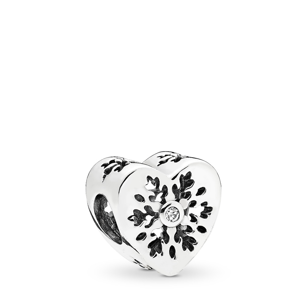 Snowflake Heart Charm, Clear CZ, Sterling silver, Cubic Zirconia - PANDORA - #796359CZ