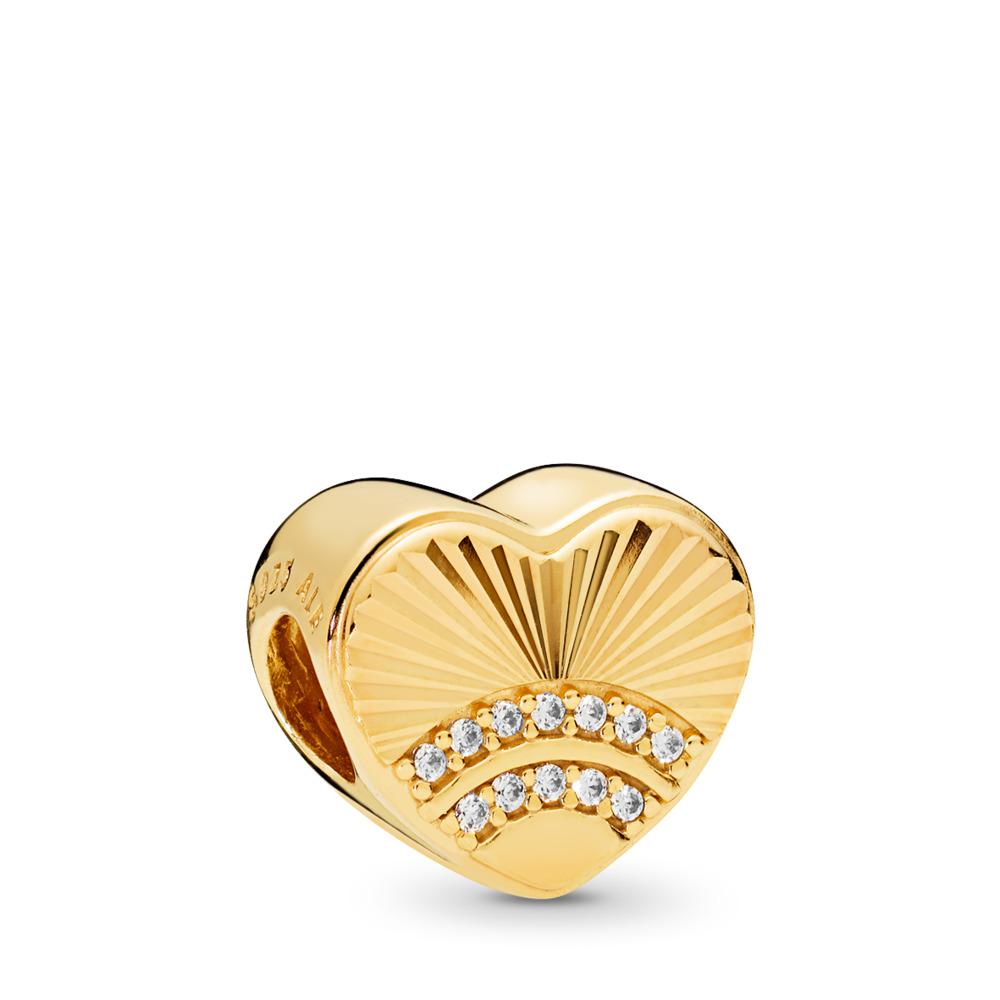Fan of Love Charm, PANDORA Shine™ & Clear CZ, 18ct Gold Plated, Cubic Zirconia - PANDORA - #767288CZ