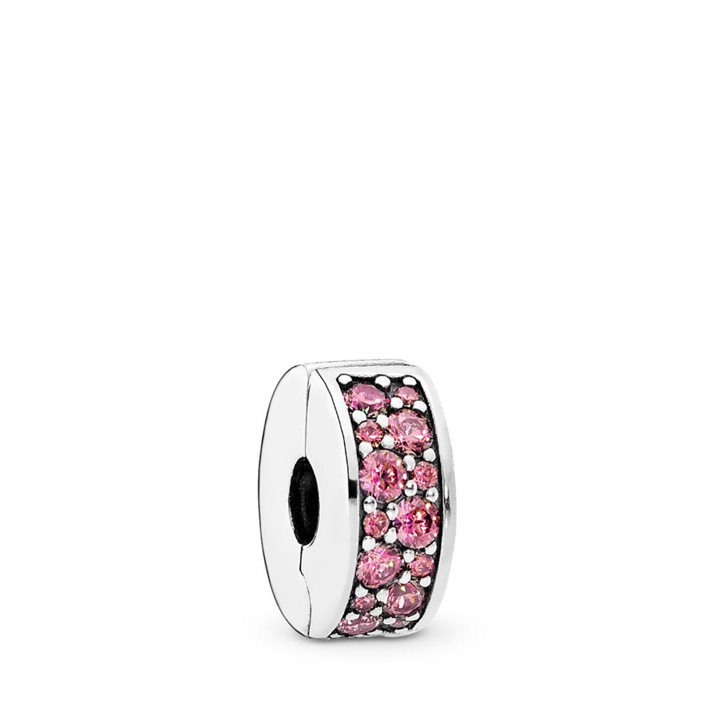 Shining Elegance Clip, Honeysuckle Pink CZ, Sterling silver, Silicone, Pink, Cubic Zirconia - PANDORA - #791817HCZ