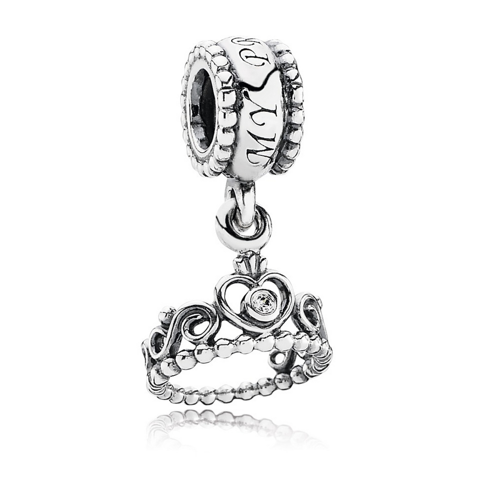 My Princess Dangle Charm, Clear CZ
