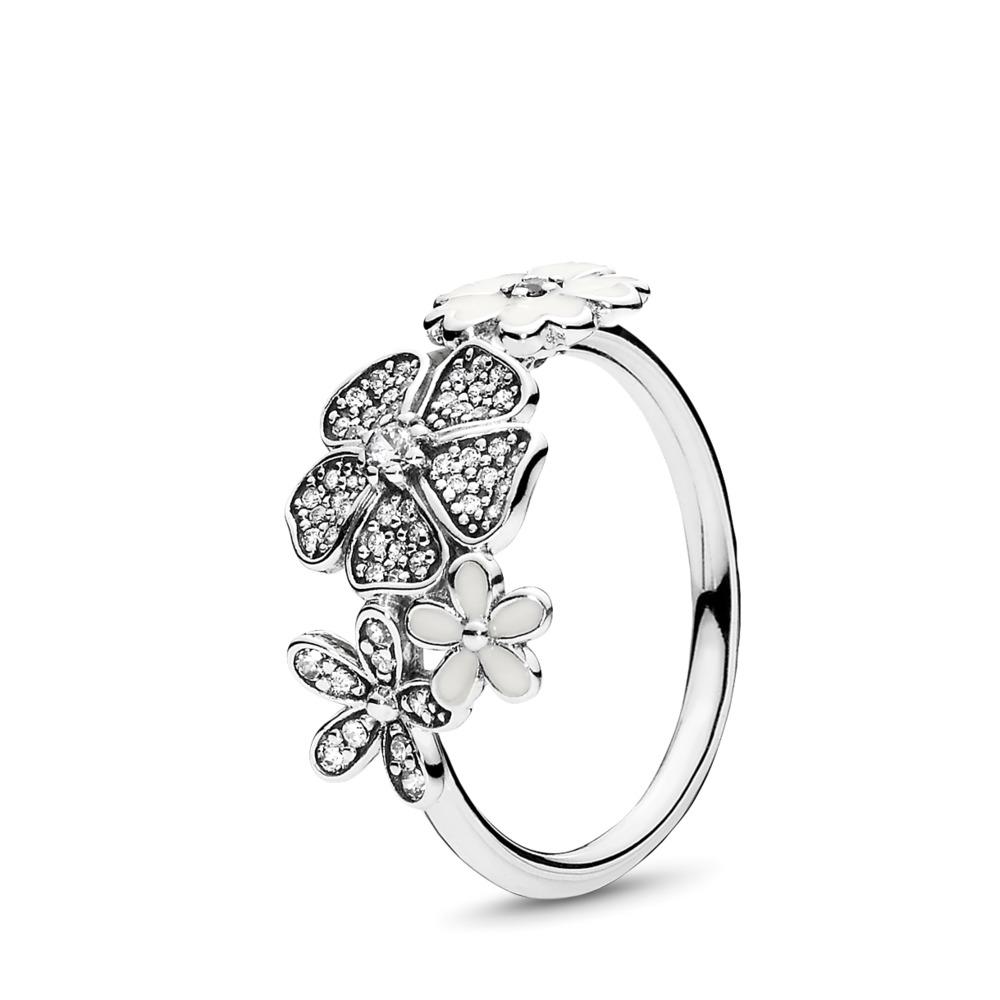 Shimmering Bouquet Ring, White Enamel & Clear CZ, Sterling silver, Enamel, White, Cubic Zirconia - PANDORA - #190984CZ
