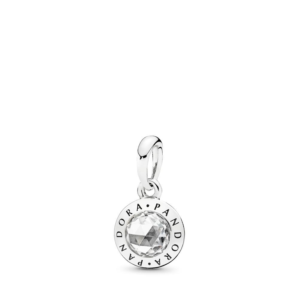 Radiant PANDORA Logo Pendant, Clear CZ, Sterling silver, Cubic Zirconia - PANDORA - #396217CZ