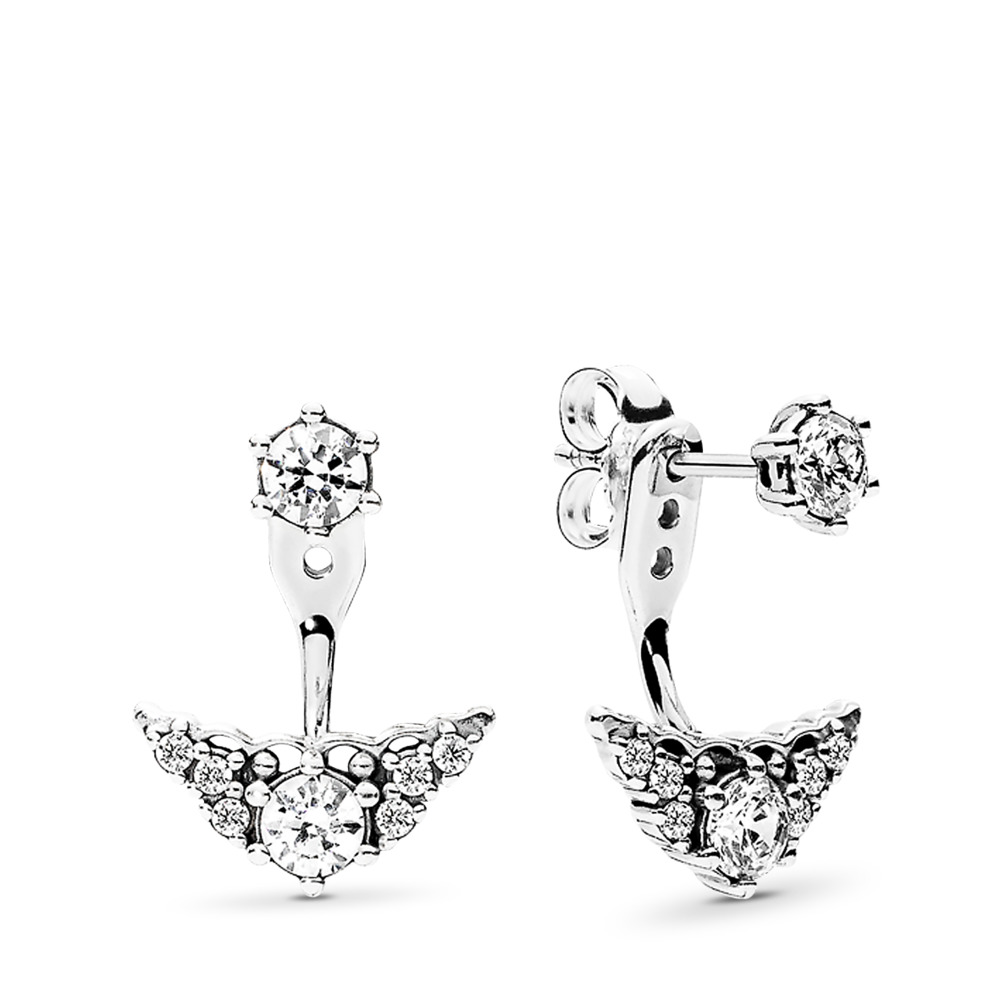 Fairytale Tiara Stud Earrings, Clear CZ, Sterling silver, Cubic Zirconia - PANDORA - #296228CZ