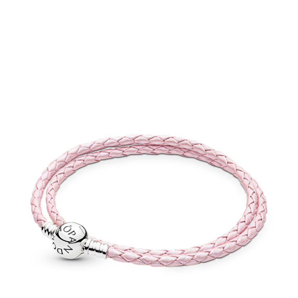 26bac9842 Pink Braided Double-Leather Charm Bracelet, Sterling silver, Leather, Pink  - PANDORA