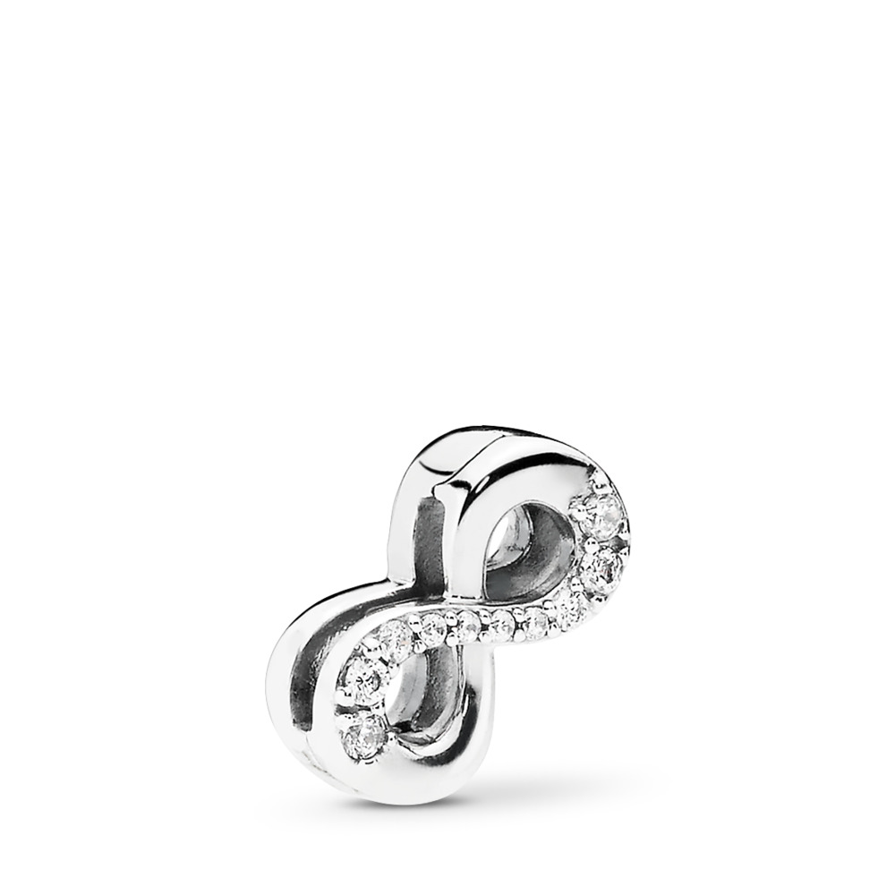 PANDORA Reflexions™ Sparkling Infinity Clip Charm, Clear CZ, Sterling silver, Silicone, Cubic Zirconia - PANDORA - #797580CZ