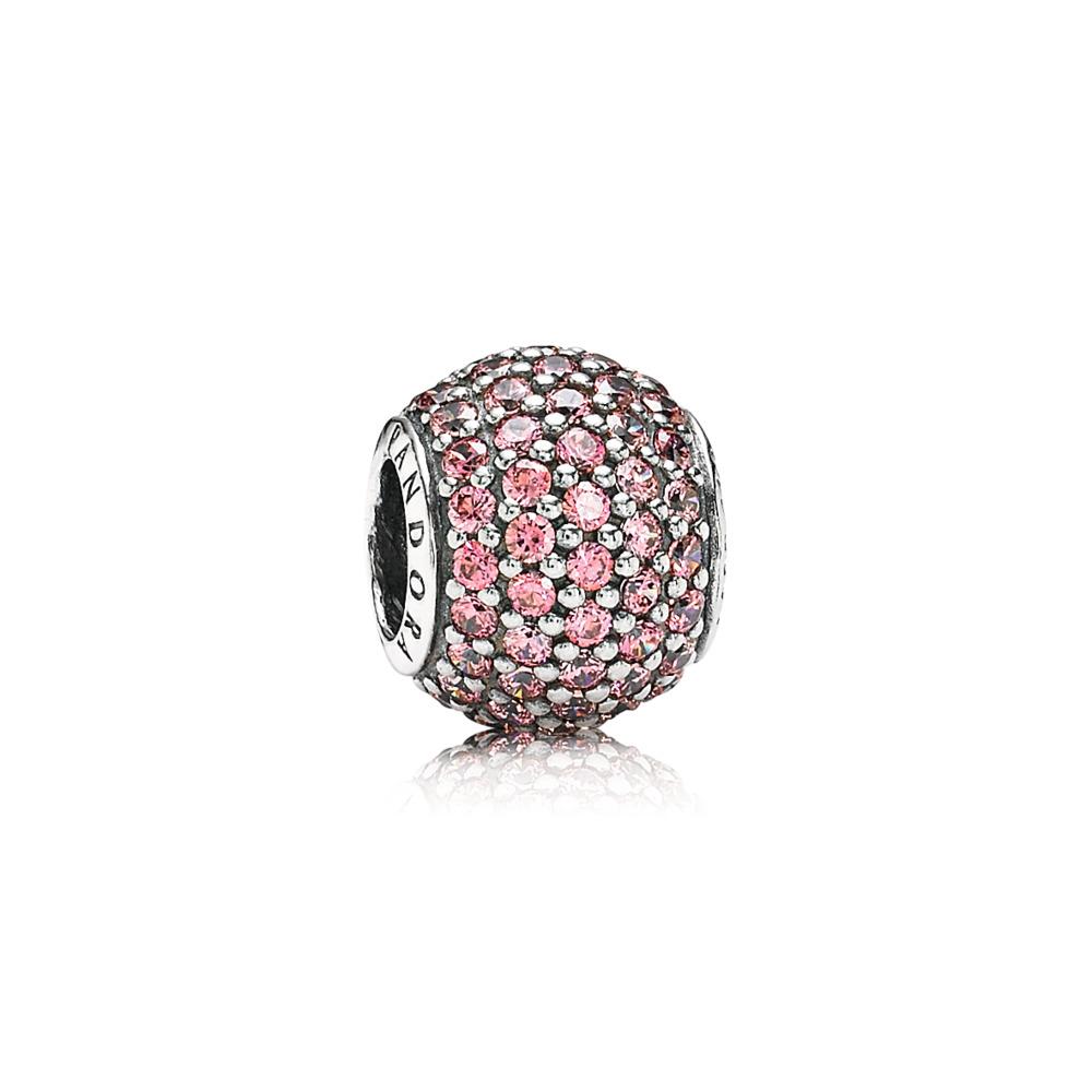 Pavé Lights Charm, Fancy Pink CZ, Sterling silver, Pink, Cubic Zirconia - PANDORA - #791051CZS