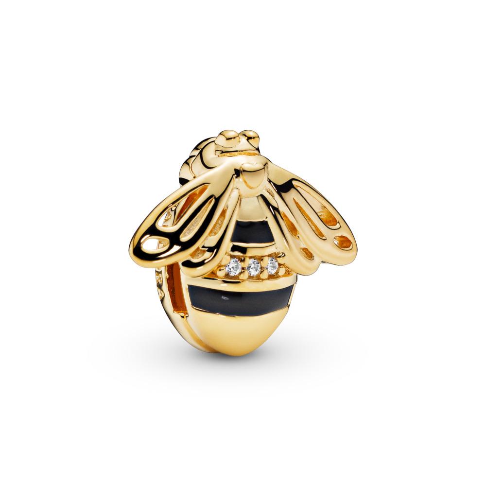 Pandora Reflexions™ Queen Bee Clip Charm, Pandora Shine™, 18ct Gold Plated, Enamel, Black, Cubic Zirconia - PANDORA - #767862EN16
