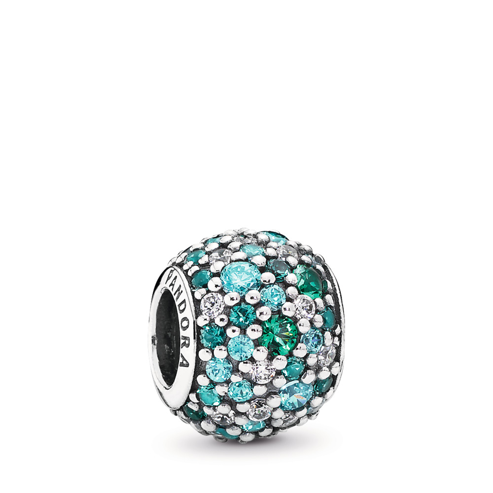 Ocean Mosaic Pavé Charm, Mixed Green CZ & Green Crystal, Sterling silver, Green, Mixed stones - PANDORA - #791261MCZMX