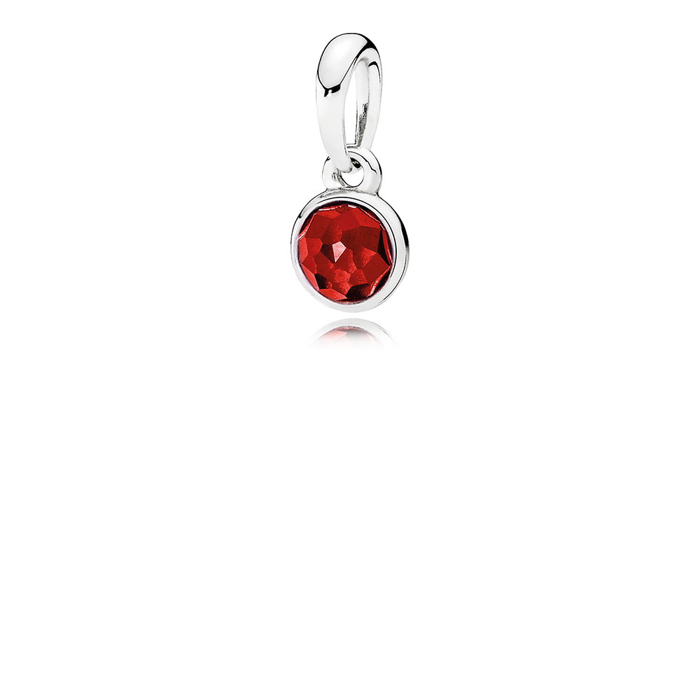 July Droplet Pendant, Synthetic Ruby