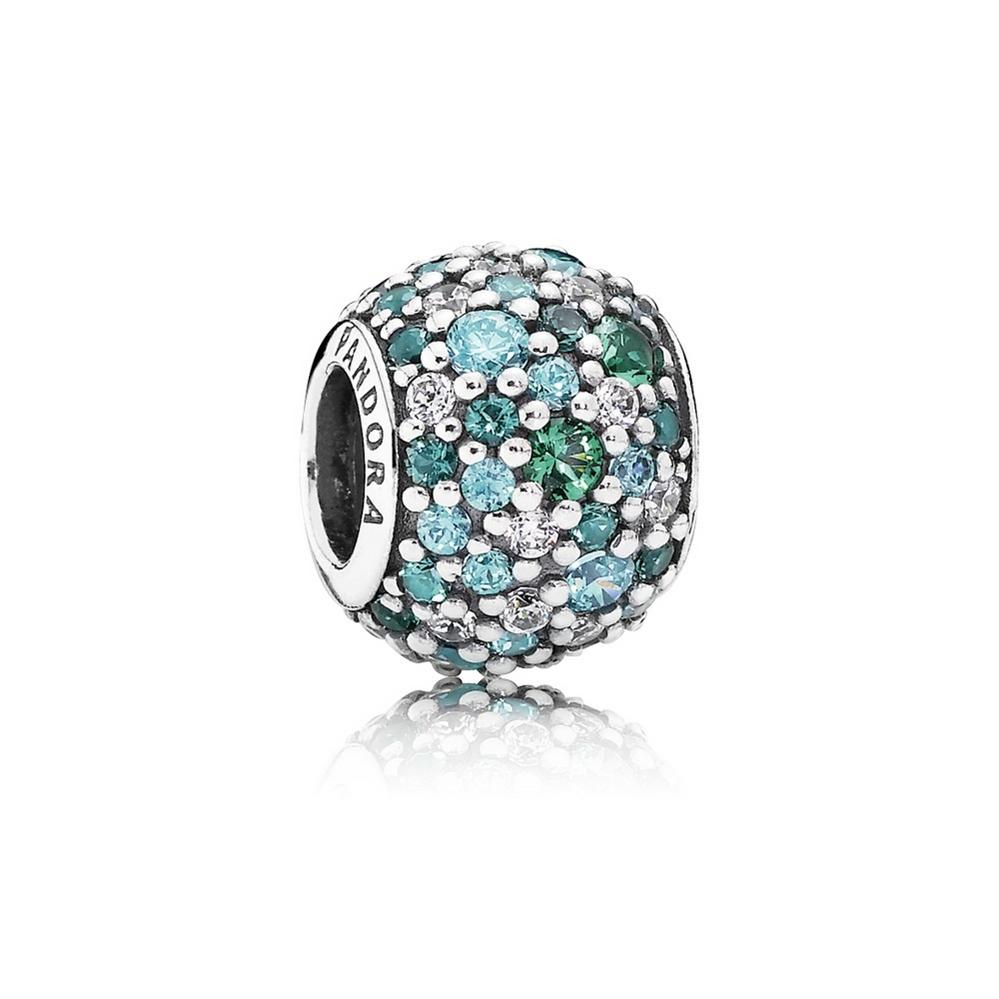 Ocean Mosaic Pavé Charm, Mixed Green CZ & Green Crystal