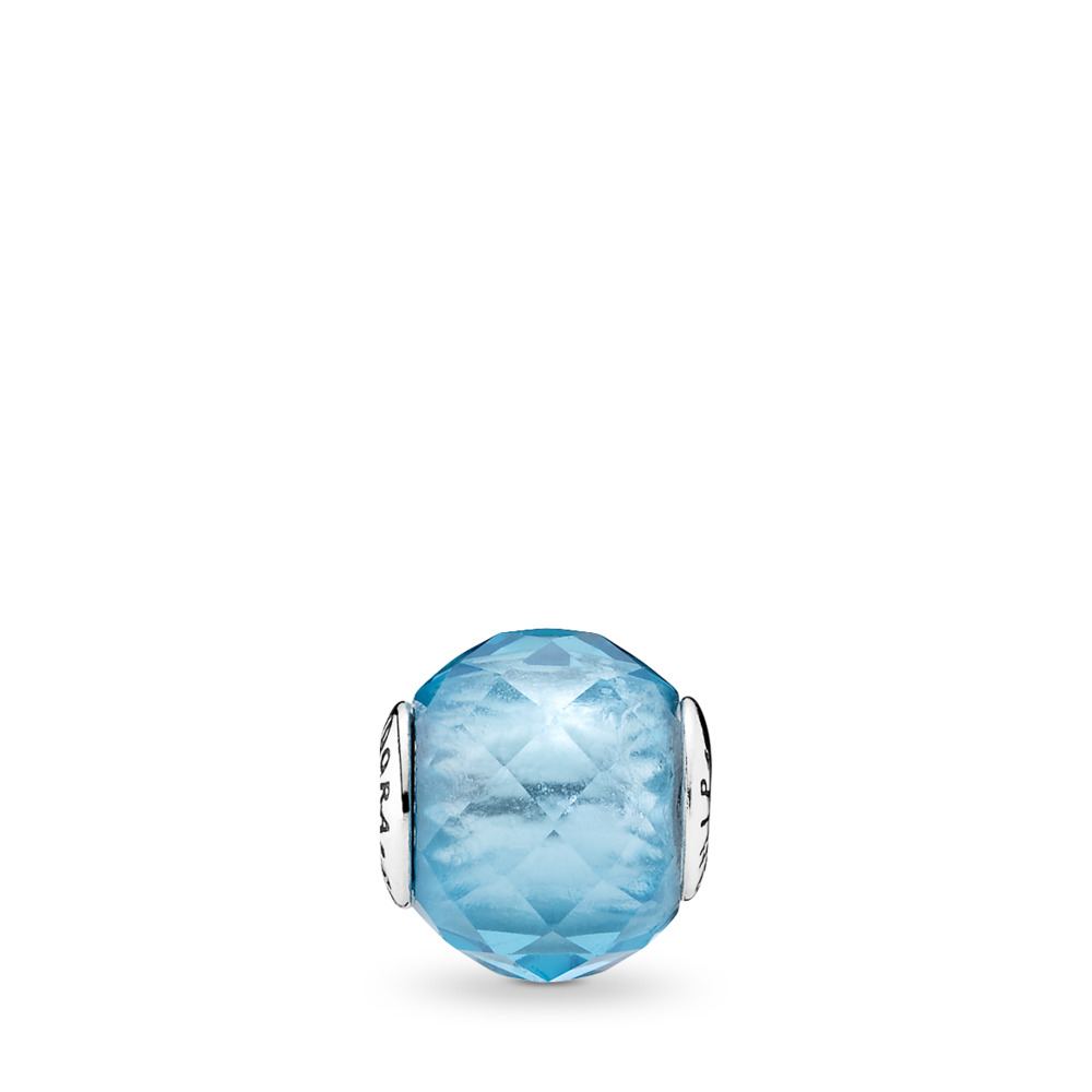 FRIENDSHIP Charm, Sky-Blue Crystal, Sterling silver, Silicone, Blue, Crystal - PANDORA - #796075NBS