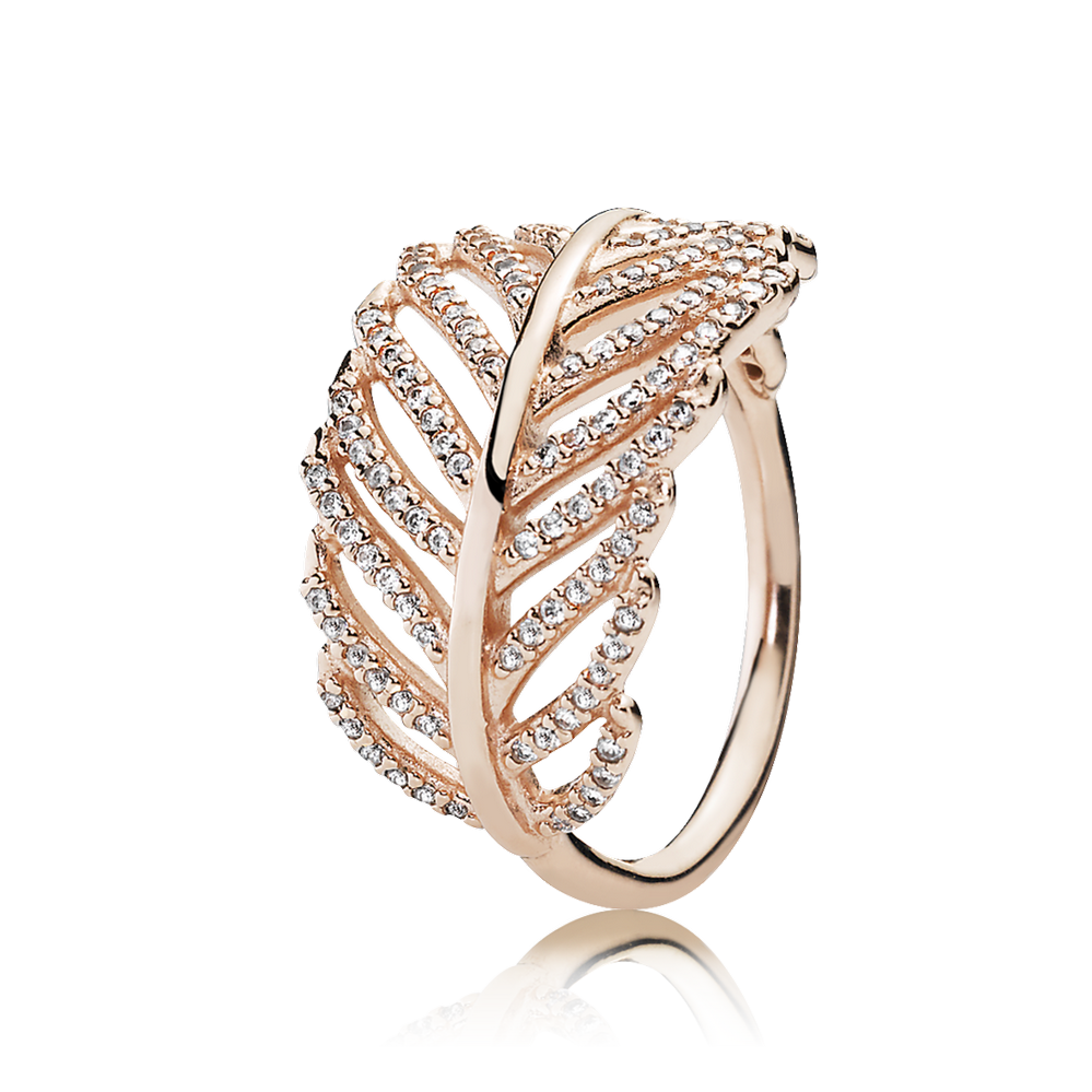 Light As A Feather Ring, PANDORA Rose™ & Clear CZ