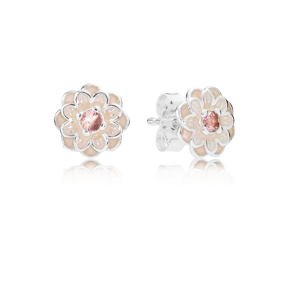 Blooming Dahlia Stud Earrings, Cream Enamel & Blush Pink Crystals