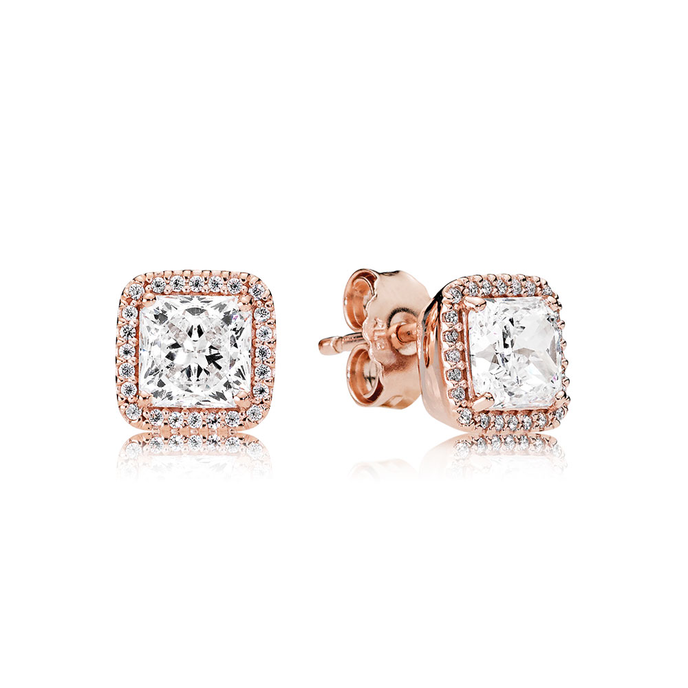 Timeless Elegance Stud Earrings, PANDORA Rose™ & Clear CZ